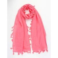 """Scarf """"Summer tassels"""" hard pink"""