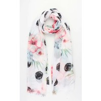 "Scarf ""Beautiful flower"" white"