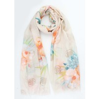 "Scarf ""Beautiful flower"" taupe"