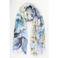 "Scarf ""Leaves & Flowers"" blue"
