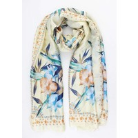 "Scarf ""Stars & Flowers"" yellow"