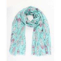 "Scarf ""Happy feathers"" Mint green"