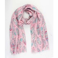 "Scarf ""Happy feathers"" pink"