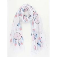"Scarf ""Happy dream catcher"" white"