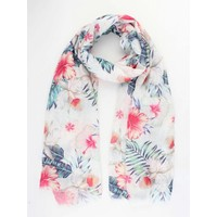 """Scarf """"Happy colors"""" white"""