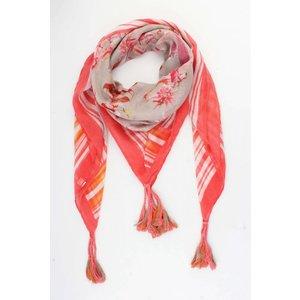 """Sjaal vierkant """"Cheraine"""" grijs/rood"""