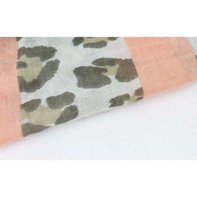 """Sjaal """"Leopard & Stripes"""" kakhi groen"""