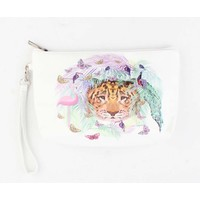 "Toilet bag ""Butterfly & Flamingo"" white"