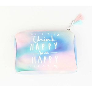 "Kosmetiktasche ""Think happy"" rosa"