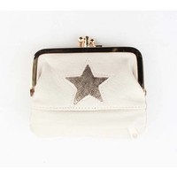 "Knip portemonnee small  ""Star"" creme wit"