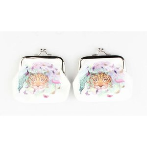 "Coin purse ""Butterfly & Flamingo"" white, per 2pcs."