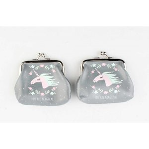 "Coin purse ""You are magical"" grey, per 2pcs."