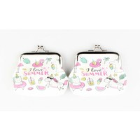 "Coin purse ""I love summer"" white, per 2pcs."