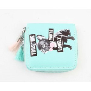 "Mini wallet ""Trust me"" aqua blue"