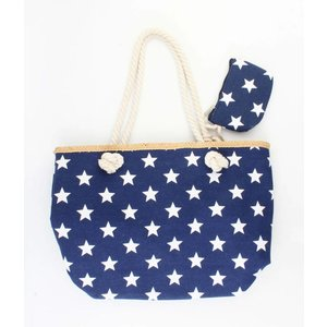 "Strandtas ""Nautical stars"" blauw"