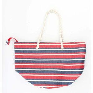 "Beach bag ""Nautical stripes"" red"