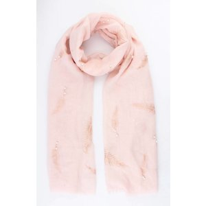 "Scarf ""Feather & Pearl"" pink"