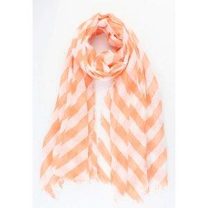 """Sjaal """"Crazy stripes"""" zalm roze"""