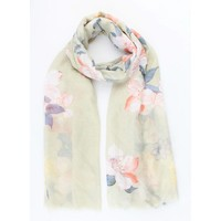 "Scarf ""Spring flowers"" green"