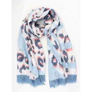"Scarf ""Crazy leopard"" blue"