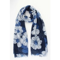 "Scarf ""Old flowers"" blue"
