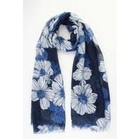 """Schal """"Alte Blumen"""" blau"""