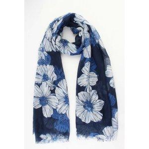 """Sjaal """"Old flowers"""" blauw"""