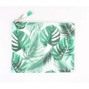 "Make-up bag XL ""Palm leaves"" green"
