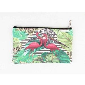 """Kosmetiktasche Small """"Flamingo"""" grün"""