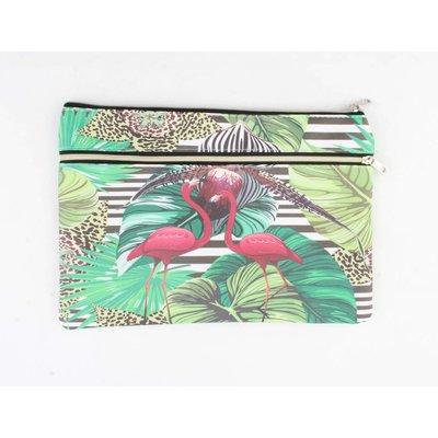 "Toilet bag ""Flamingo"" green"