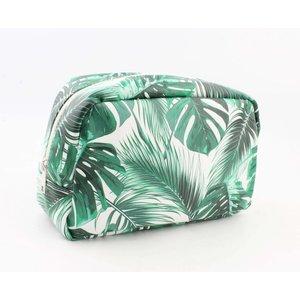"""Toilette Tasche XL """"Palmblätter"""" grün"""