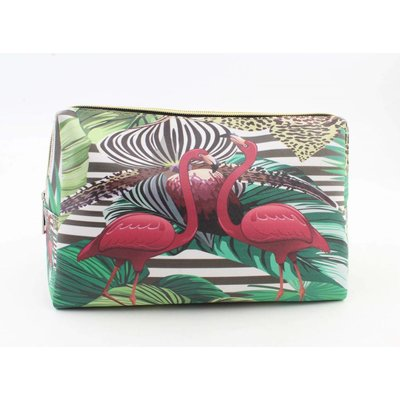 "Make-up tas ""Flamingo"" groen"