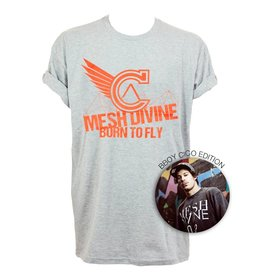 MESH DIVINE BORN TO FLY T-SHIRT ROT/GRAU MELANGE