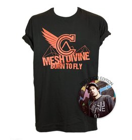 MESH DIVINE BORN TO FLY T-SHIRT ROT/SCHWARZ