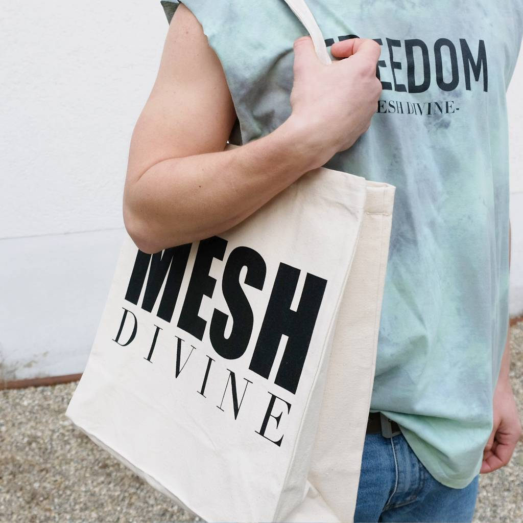 MESH DIVINE LOGO SHOPPER NATUR