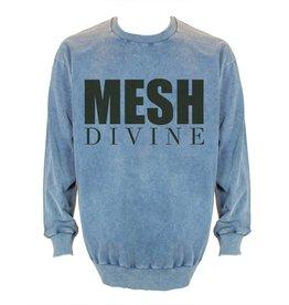 MESH DIVINE LOGO SWEATER SCHWARZ/DENIMBLAU