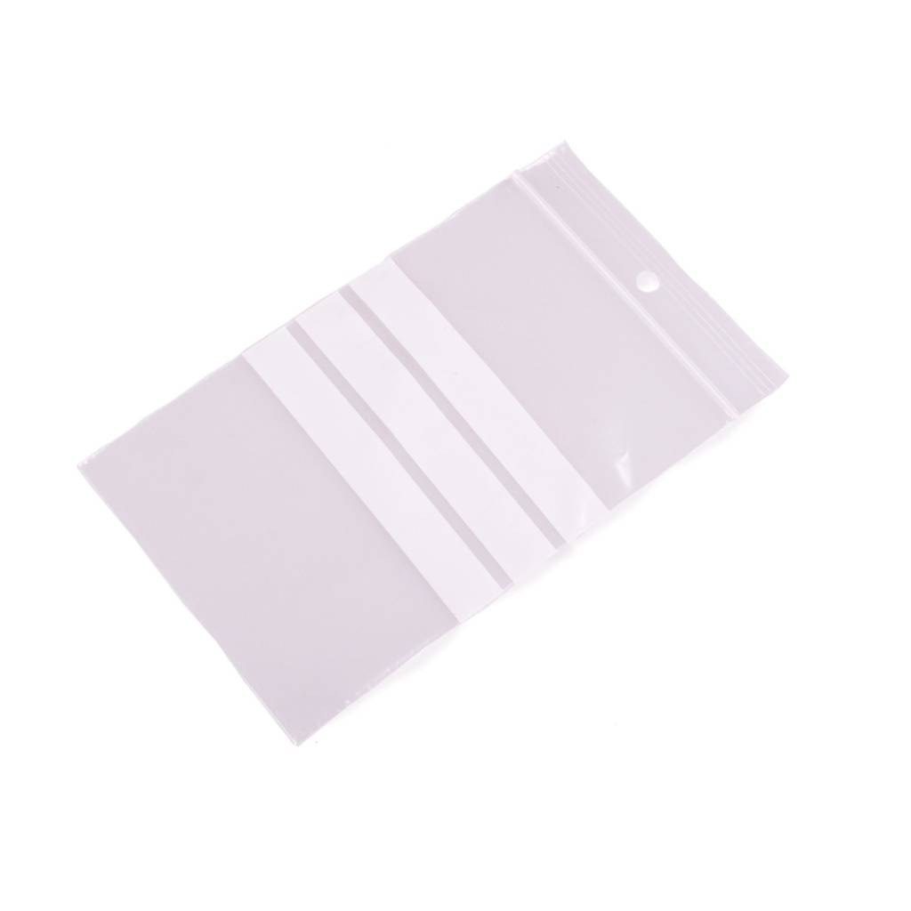 Gripzakken met schrijfvlakken 80 x 120 mm uit 50 micron LDPE pakje van 1000 stuks