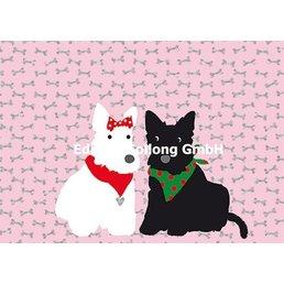 Postkarte Rosa Knochen Hundepärchen