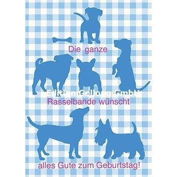 Postkarte Hunde Happy Birthday Bayerisch