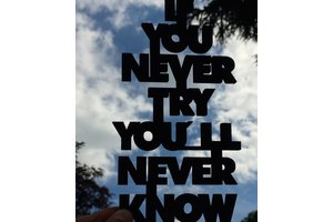 Wooden Quotes, If you never try you'll never know, Black