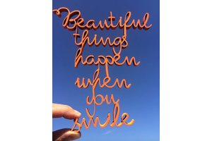 Wooden Quote, Beautiful things happen when you smile, Fluo