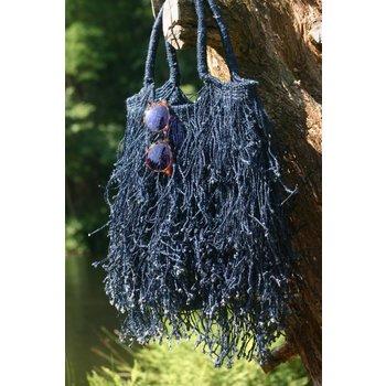 Fringed Bag, Indigo