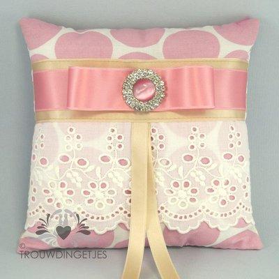 Ringkussen vintage look ivoor beige roze 16cm