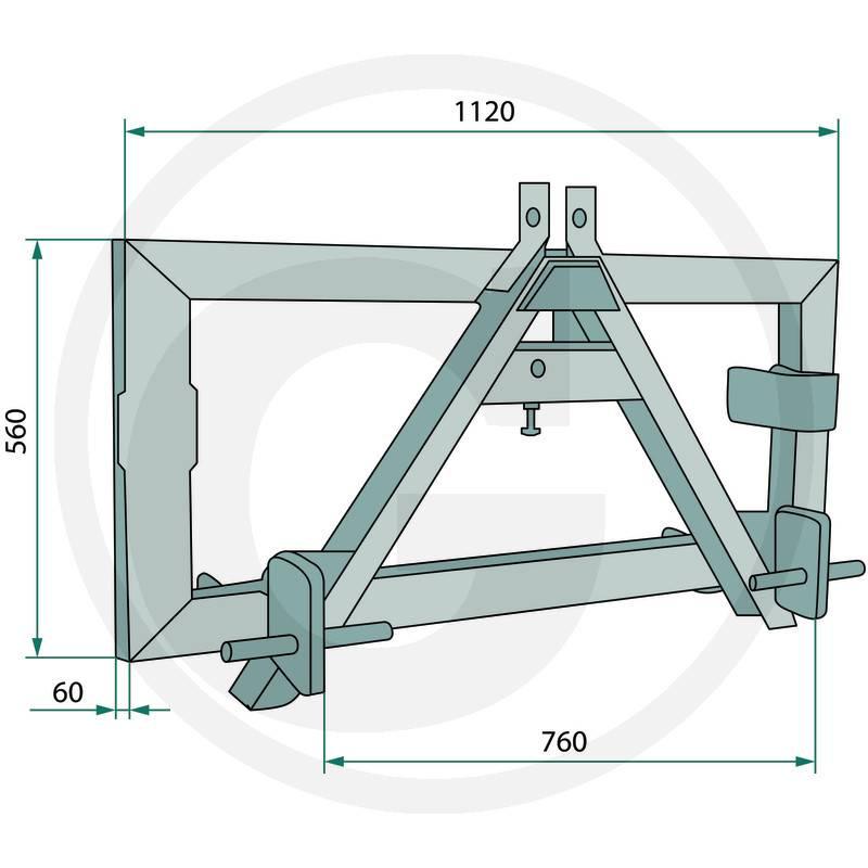 dreipunktadapter kat1 2 f r fronthydraulik. Black Bedroom Furniture Sets. Home Design Ideas