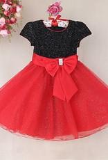 LaraModa Meisjes Feestjurk Gloria - zwart / rood