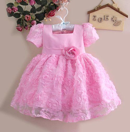 LaraModa Meisjes Feestjurk Fleur - roze