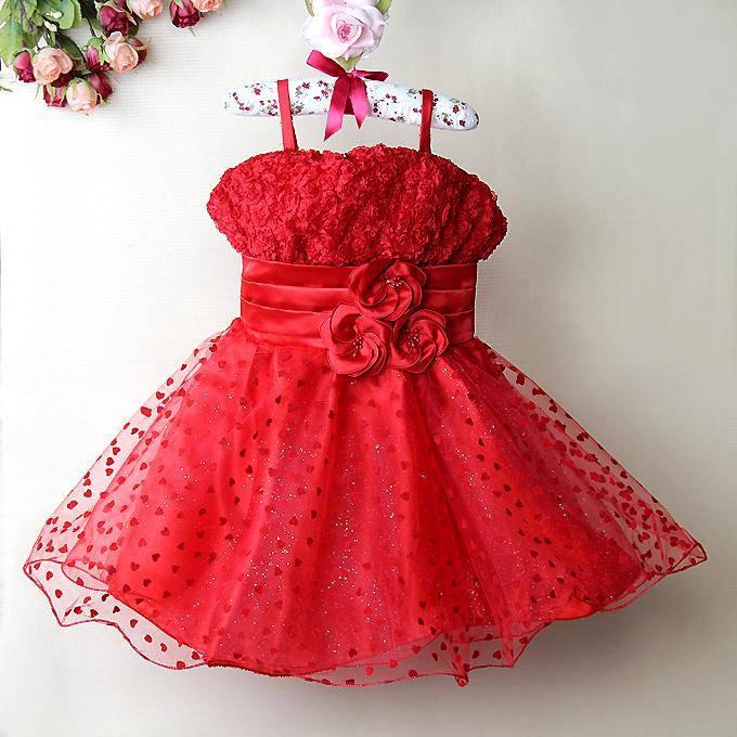 LaraModa Meisjes Feestjurk Maria - rood