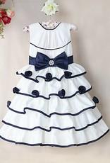 Meisjeskleding Meisjes Feestjurk Madelief - wit / blauw
