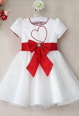 LaraModa Meisjes Feestjurk Sandra - wit / rood