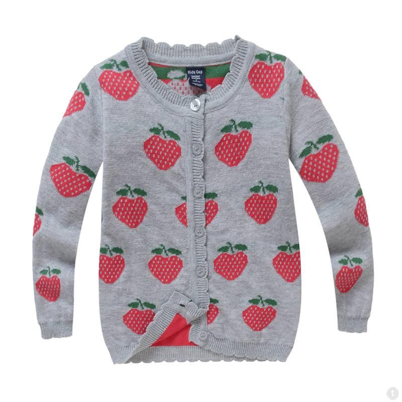 Meisjeskleding Aardbeien Meisjes Vest - grijs
